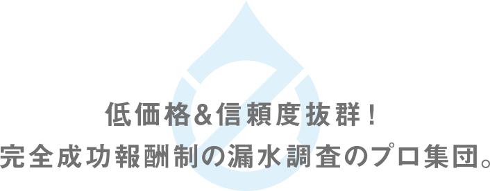 低価格&信頼度抜群!完全成功報酬制の漏水調査のプロ集団。